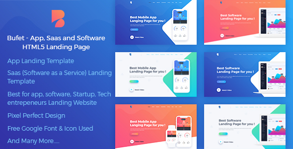 Bufet – Multi Concept App, Saas and Software Landing Page