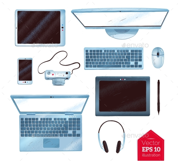 Vector Illustrations Set of Office Gadgets - Man-made Objects Objects