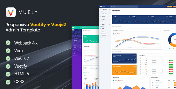 Download Vuely : Vuejs 2 Material Design Admin Template Nulled