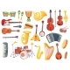Cartoon Musical Instruments, Guitars, Bongo Drums