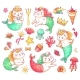 Mermaid Kitty Cat Cartoon Characters. Underwater