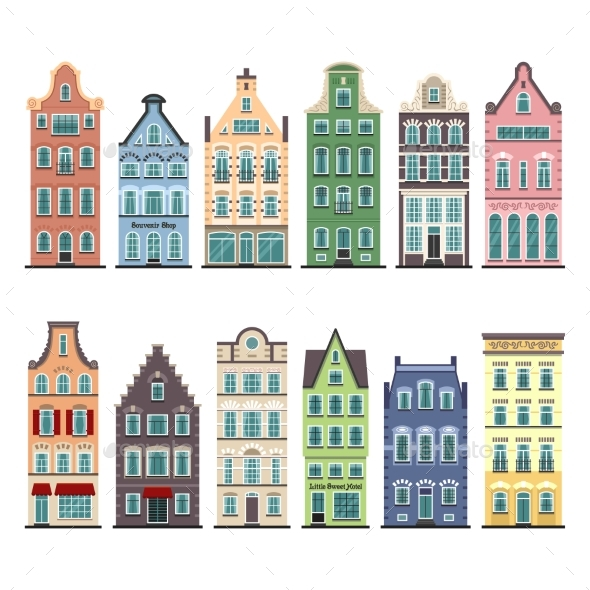 Set of 12 Amsterdam Old Houses Cartoon Facades - Buildings Objects