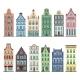 Set of 12 Amsterdam Old Houses Cartoon Facades