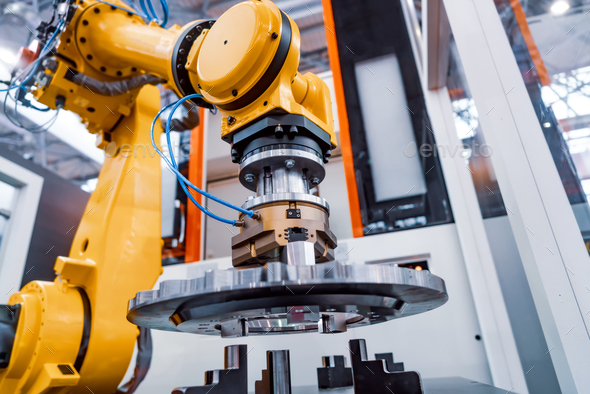 Robotic Arm modern industrial technology. Automated production c - Stock Photo - Images