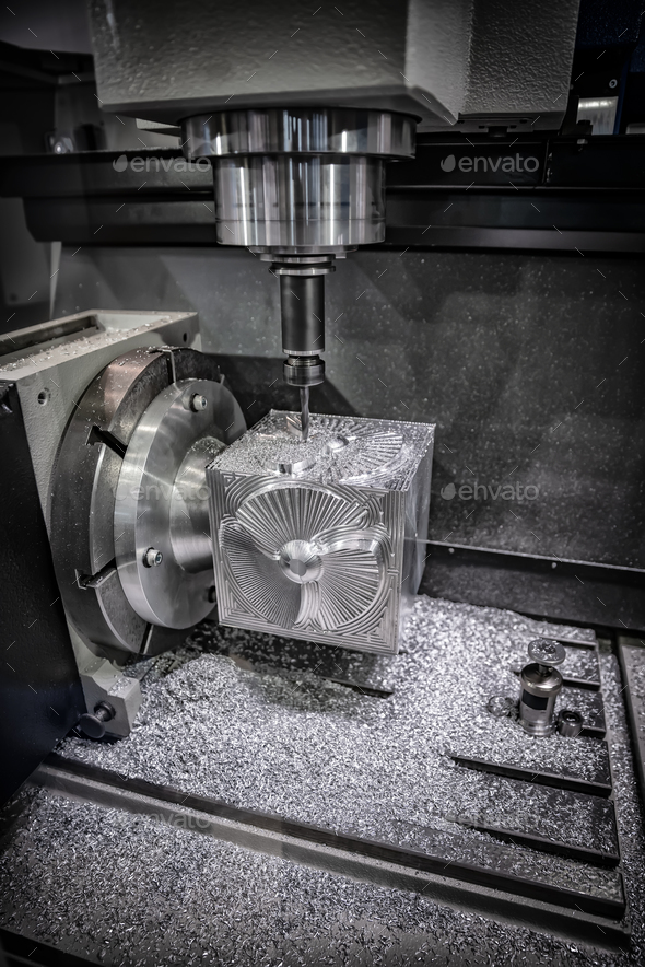 Metalworking CNC milling machine. Cutting metal modern processin - Stock Photo - Images