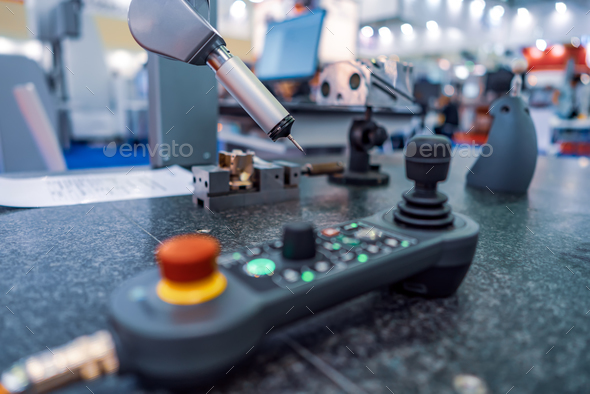 Quality control measurement probe. Metalworking CNC milling mach - Stock Photo - Images
