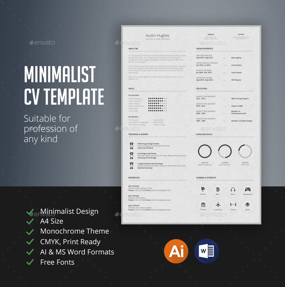 Minimalist Cv Template By Sezginavci  Graphicriver