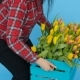 Young Female Florist with Yellow Tulips - VideoHive Item for Sale