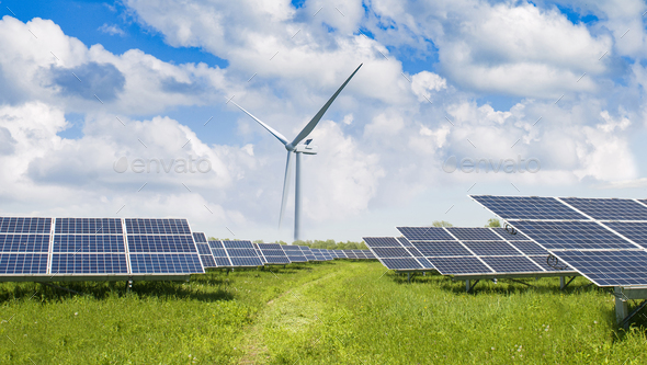solar panels and wind turbine - Stock Photo - Images