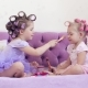 Two Sisters in Curlers Make Each Other a Make-up. - VideoHive Item for Sale