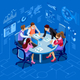 Isometric People Team Management Concept