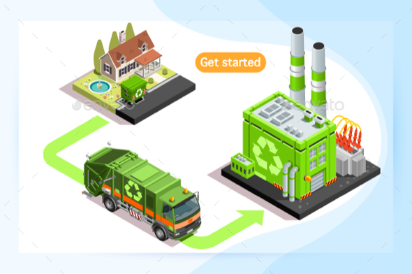 Recycling Plant and Waste Truck - Miscellaneous Vectors