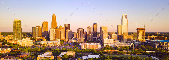 Aerial Fly in Over Charlotte North Carolina Downtown City Skyline - Stock Photo - Images