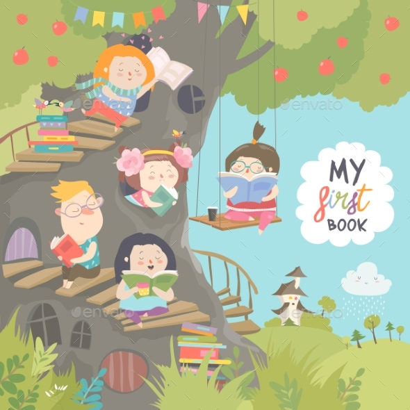 Children Reading Books in the Treehouse - People Characters