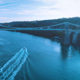 Aerial Reveal Menai Bridge with Boat - VideoHive Item for Sale