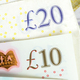 Closeup of 10 and 20 GBP banknotes - PhotoDune Item for Sale