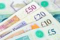 Set of english pounds banknotes