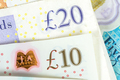 Closeup of 10 and 20 GBP banknotes