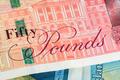 Closeup of 50 GBP banknote