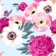 Seamless Pattern with Peony and Ranunculus - GraphicRiver Item for Sale