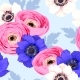 Seamless Pattern with Anemones and Ranunculus - GraphicRiver Item for Sale