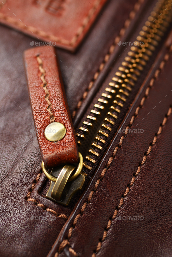 Metal brass zipper - Stock Photo - Images
