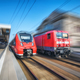 High speed train and old train in motion on the railway station - PhotoDune Item for Sale