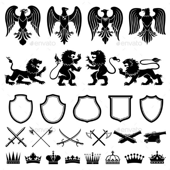 Heraldic Elements Vector Set - Decorative Symbols Decorative