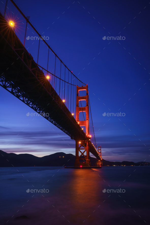 The Golden Gate Bridge at Sunset - Stock Photo - Images