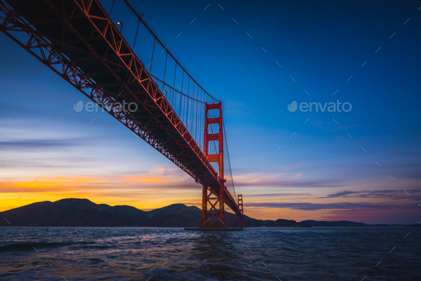 The Golden Gate Bridge at Sunset - Stock Photo - Images