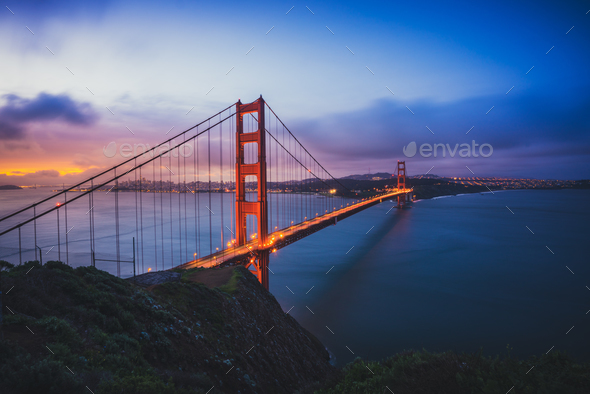 The Golden Gate Bridge at Dawn - Stock Photo - Images