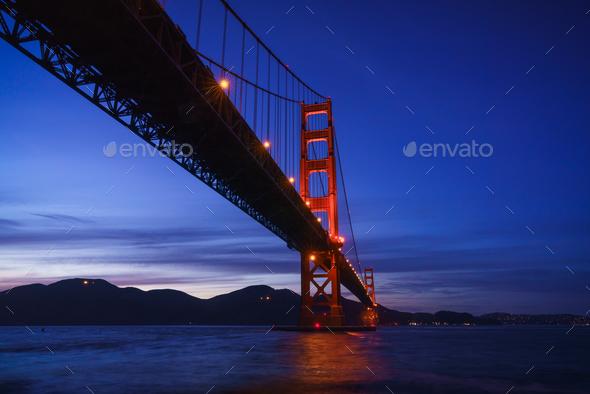 The Golden Gate Bridge at Dusk - Stock Photo - Images
