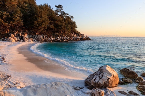 Marble beach. Thassos Islands, Greece - Stock Photo - Images