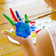 Asian Child Painting Her Hand - VideoHive Item for Sale