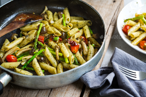 Penne with Mushroom in Pesto sauce  - Stock Photo - Images