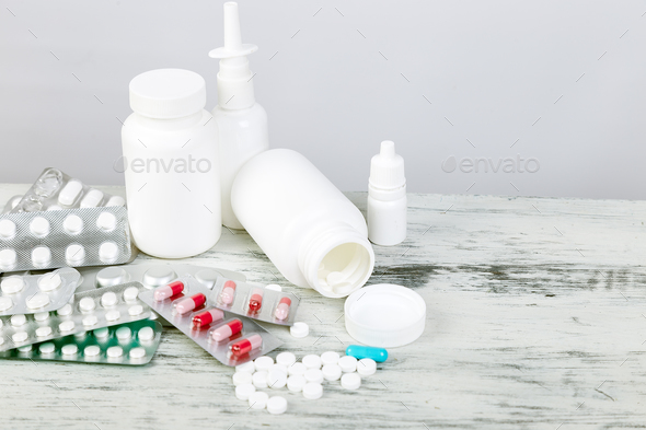 Pills. Medicine Pills in blister pack. Tablets and bottle. - Stock Photo - Images