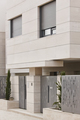 Modern residential building entrance. Estate property. Marble stone. Construction. Vertical - PhotoDune Item for Sale