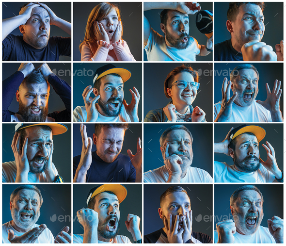 Collage about emotions of football fans watching soccer on tv - Stock Photo - Images