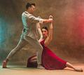 Flexible young modern dance couple posing in studio. - PhotoDune Item for Sale