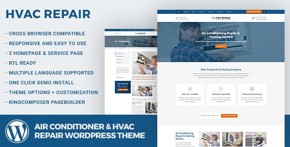 Air Conditioner & HVAC Repair WordPress Theme - Business Corporate