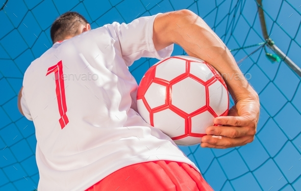 Red and White Soccer Player - Stock Photo - Images