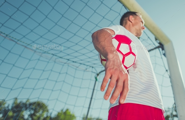 Goalkeeper with the Ball - Stock Photo - Images