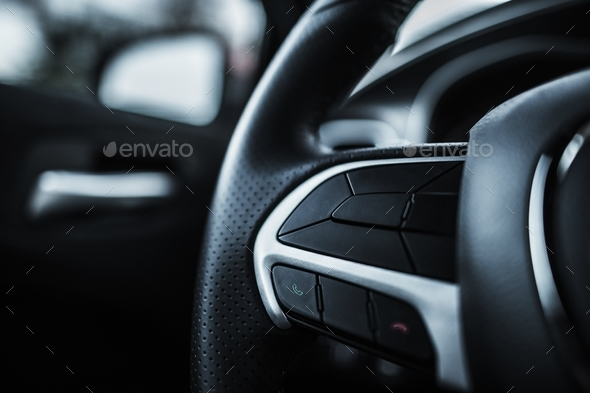 Modern Car Steering Wheel - Stock Photo - Images