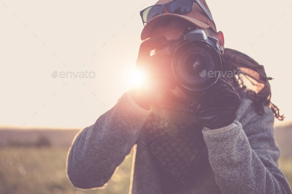 Press Photographer with Camera - Stock Photo - Images