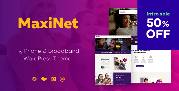 MaxiNet | Broadband & Telecom WordPress Theme