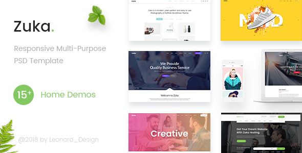 Zuka | Responsive Multi-Purpose PSD Template