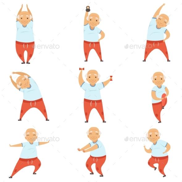 Senior Man Doing Morning Exercises - Sports/Activity Conceptual
