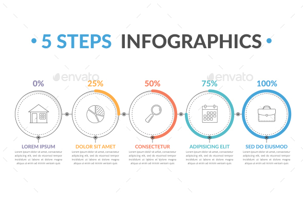 Process Diagram with 5 Steps - Infographics
