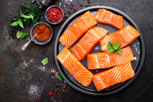 Salmon. Fresh salmon fish. Raw salmon fish fillet. Sea food - Stock Photo - Images