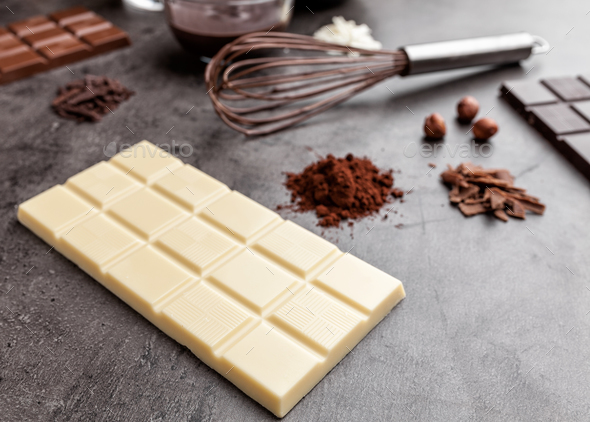 Delicious white chocolate and cocoa powder - Stock Photo - Images
